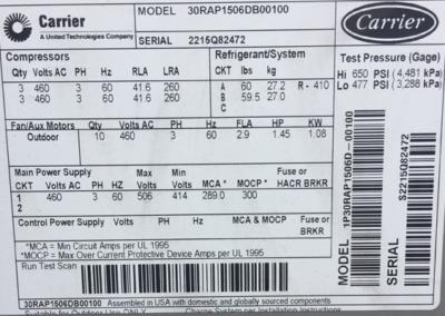 Carrier 150 ton Chiller Label