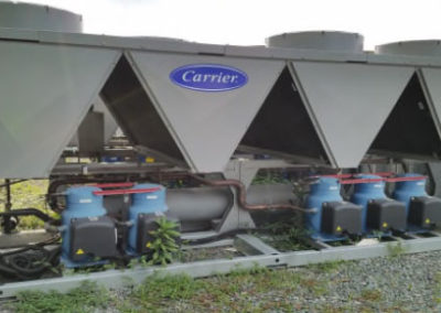 Side view of Carrier 120 ton air cooled chiller